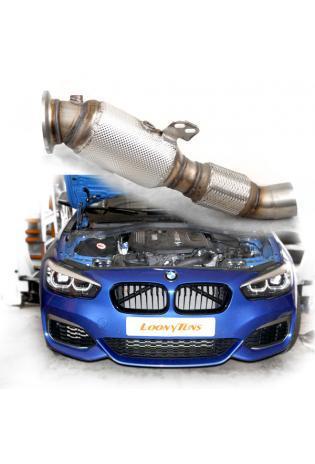 HJS Edelstahl Downpipe mit Sportkat BMW F20 F21 140i F22 240i F30 F31 340i F36 F32 F33 440i G30 G31 540i G11 G12 740i
