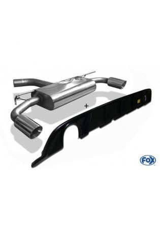FOX Duplex Sportauspuff VW Golf VII starre Hinterachse Facelift re/li  1x100mm inkl. Heckeinsatz schwarz matt