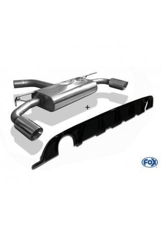 FOX Duplex Sportauspuff VW Golf VII starre Hinterachse Facelift re/li je 1x100mm inkl. Heckeinsatz schwarz lackiert