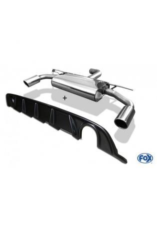 FOX Duplex Sportauspuff VW Golf VII starre Hinterachse Facelift re/li 1x100mm inkl. Heckeinsatz Carbon-Look