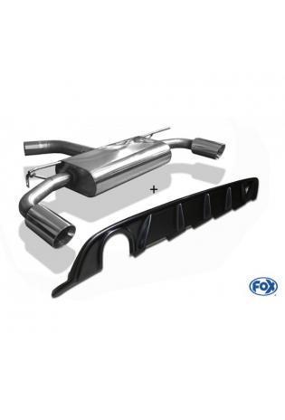 FOX Duplex Sportauspuff carbon VW Golf VII starre Hinterachse Facelift re/li 1x114mm inkl. Heckeinsatz schwarz lackiert