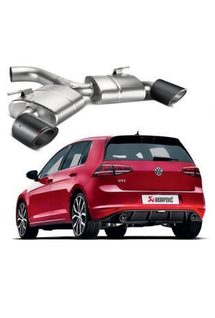 Akrapovic Titan Slip-On Line Endschalldämpfer duplex Sportauspuff VW Golf 7 GTI mit Carbon Endrohren