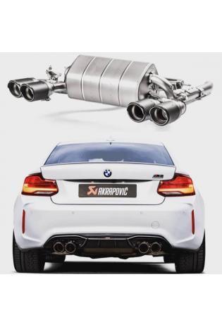 Akrapovic Titan Sportauspuff Endschalldämpfer BMW M2 Competition F87 mit re li je 2x 95mm Carbonendrohr