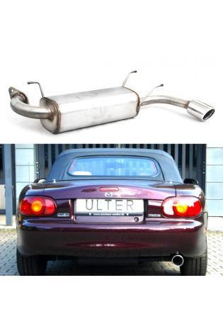 Ulter Edelstahl Sportauspuff für Mazda MX5 Typ NB rechts 1x90mm rund eingerollt