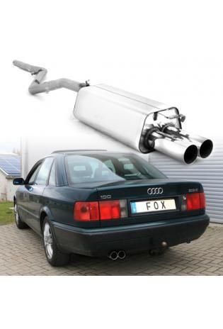 Fox Sportauspuff Racing Komplettanlage ab Kat Audi 100/A6 Typ C4 2.6l 2.8l 2x76mm Typ 10