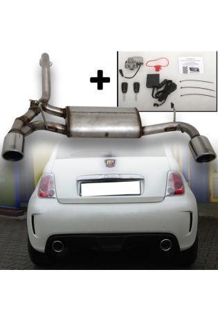 Ulter Edelstahl Duplex Klappenauspuff mit Elektronik Fiat Abarth 500 inkl. Cabrio re li je 1x100mm