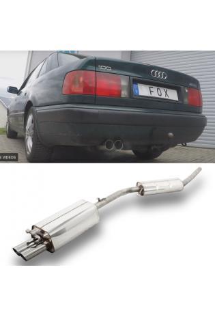 FOX Sportauspuff Komplettanlage ab Kat. Audi 100/A6 Typ C4 2.6l 2.8l 2x70mm