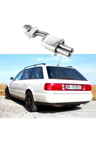 BN Pipes Sportauspuffanlage Edelstahl für Audi 100C A6 S4 2x70mm eingerollt schräg
