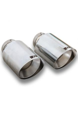 Remus Endrohr-Set li/re je 1 Endrohr Ø 102 mm schräg, gerader Schnitt, verchromt für Remus Schalldämpfer Mini VW Golf VII