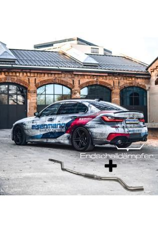 Eisenmann Klappen Racinganlage ab Kat. BMW G20 3er 320i 330i inkl. xDrive re li je 1x90mm gerade Chrom-Alu