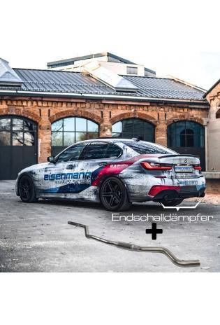 Eisenmann Klappen Racinganlage ab Kat. BMW G20 3er 320i 330i inkl. xDrive re li je 1x90mm gerade Chrom-Alu schwarz