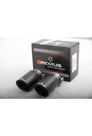 REMUS Endrohr-Set mit neuem REMUS Logo 2 Carbon Endrohre 84mm schräg Innenaufbau Titan