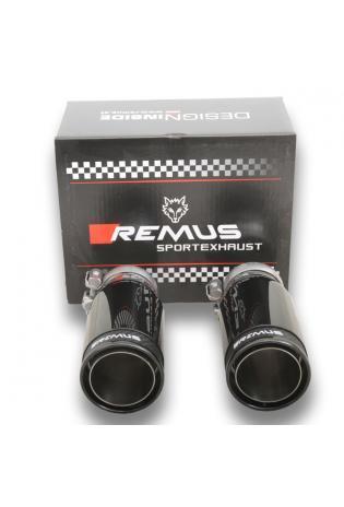 REMUS Endrohrset mit neuem REMUS Logo 2x84mm Street Race Black Chrome Fiat Punto Evo Abarth Nissan Juke