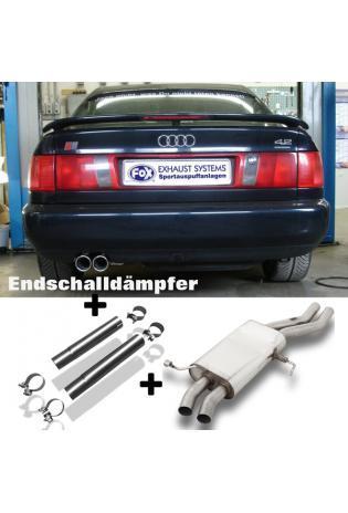FOX Sportauspuff Komplettanlage ab Kat. Audi 100/A6 Typ C4 quattro 2x80mm