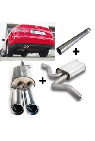 FOX Komplettanlage ab Kat Audi A4 Typ B5 Limo Avant 1.8l 2.6l 2.8l und Diesel 2x76mm Absorber