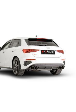 Remus Klappen Komplettanlage ab OPF Audi S3 Sportback 8Y re li je 2x102mm Carbon schräg