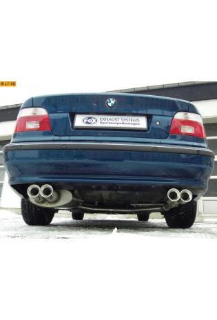 BMW 5er E39 Limousine 520i  523i  525i  528i  530i FOX Sportauspuff  rechts - links je 2 x 90mm eingerollt gerade mit Absorber (RohrØ 70mm)