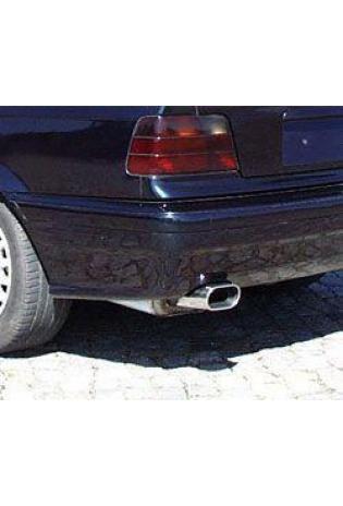 FOX Sportauspuff Komplettanlage ab Kat. Edelstahl BMW E36 Compact 1.6l - 135x80mm flachoval eingerollt abgeschrägt mit Absorber