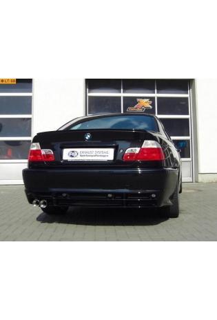 FOX Sportauspuff Endschalldämpfer Edelstahl BMW E46 Limousine Touring Coupe 1.6l  1.9l  2.0l - 2 x 80mm Eclair-rund uneingerollt gerade mit Absorber
