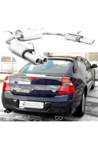 FOX Sportauspuff Duplex Endschalldämpfer Edelstahl Chrysler 300 M ab Bj. 98 2.7l  3.5l - rechts - links je 2 x 70mm eingerollt gerade mit Absorber