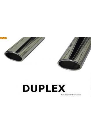 FOX Sportauspuff Duplex Endschalldämpfer Edelstahl Citroen C-Crosser ab Bj. 07 2.2l D - rechts - links je 115x85mm oval eingerollt abgeschrägt mit Absorber