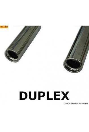 FOX Endrohrgeweih Edelstahl Daihatsu Materia ab Bj. 06 1.3l  1.5l - rechts - links je 80mm eingerollt gerade mit Absorber