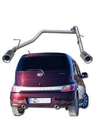 FOX Endrohrgeweih Edelstahl Daihatsu Materia ab Bj. 06 1.3l  1.5l - rechts - links je 90mm eingerollt gerade mit Absorber