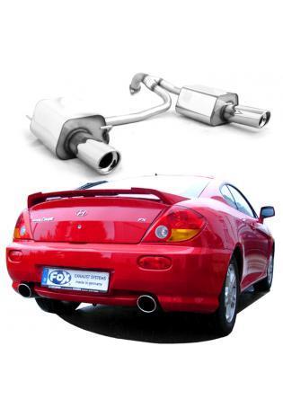 Hyundai Coupe GK 1.6l  2.0l  ab Bj. 02 FOX Duplex Sportauspuff rechts links je 100mm eingerollt abgeschrägt mit Absorber (RohrØ 63.5mm)