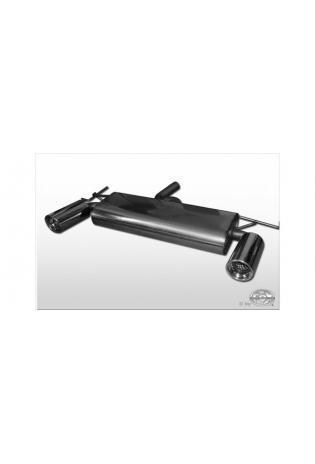 FOX Sportauspuff Duplex Endschalldämpfer quer Edelstahl Kia Sportage ab Bj. 04 4x4 2.0l - rechts links je 100mm eingerollt gerade mit Absorber