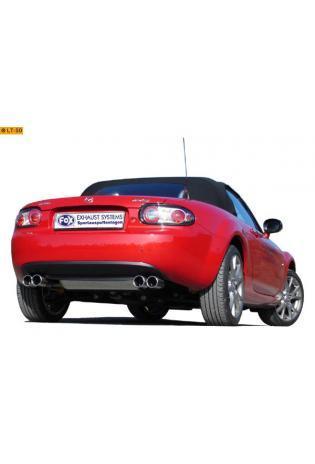 FOX Sportauspuff Duplex Endschalldämpfer quer Edelstahl Mazda MX-5 1.8l  2.0l - rechts links je 2 x 76mm eingerollt gerade mit Absorber