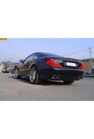 Fox Komplettanlage ab Kat. Mercedes SL-Klasse Typ R230 SL 350  SL 500 ab Bj. 01 - rechts links je 2 x 115x85mm oval eingerollt abgeschrägt ohne Absorber - laute Variante