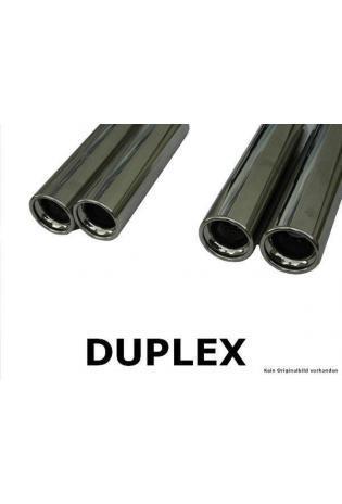 FOX Sportauspuff Duplex Endschalldämpfer Edelstahl Mitsubishi Colt 5-türig 1.1l  1.3l  1.5l  1.5l DI-D - rechts links je 2 x 90mm eingerollt gerade mit Absorber