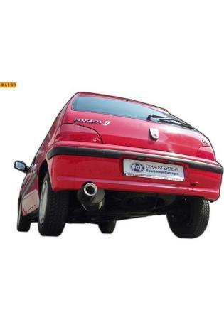 Peugeot 106 Typ 1 u. 2 Limousine 1.4l  1.6l  FOX Sportauspuff  90mm eingerollt gerade mit Absorber (RohrØ 50mm)