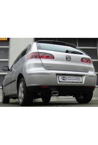 FOX Sportauspuff Endschalldämpfer Edelstahl Seat Ibiza 6L 1.2l  1.4l  1.6l  1.4l TDI  1.9l SDI  1.9l TDI (Modelle ohne Stoßstangenausschnitt) - 135x80mm flachoval eingerollt abgeschrägt mit Absorber