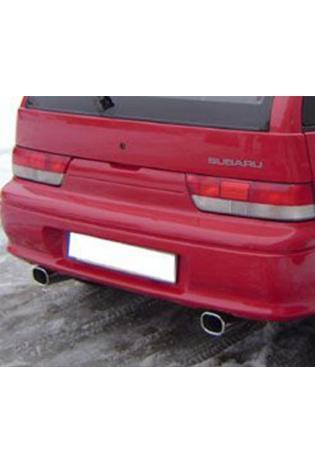 FOX Sportauspuff Duplex Endschalldämpfer quer Edelstahl Subaru Justy ab Bj. 95 1.3l Modelle mit serienmäßig lackierter Stoßstange - rechts links je 90mm eingerollt gerade mit Absorber