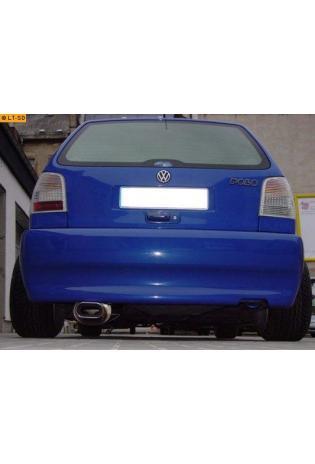 VW Polo 1.0l  1.1l  1.3l  1.4l  1.6l FOX Sportauspuff Endschalldämpfer Edelstahl - 135x80mm flachoval eingerollt abgeschrägt mit Absorber