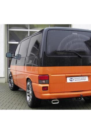 FOX Sportauspuff Endschalldämpfer Edelstahl VW Bus T4  1.9l  2.0l  2.5l  2.8l  1.9l D 1.9l TD 2.4l D 2.5l TDI - 160x80mm flachoval eingerollt abgeschrägt mit Absorber (RohrØ 60mm)