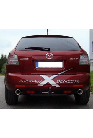 FOX Sportauspuff Duplex Endschalldämpfer quer Edelstahl Mazda CX7 ab Bj. 07  2.3l DISI Turbo  -  rechts links je 100mm  eingerollt  15 Grad abgeschrägt mit Absorber