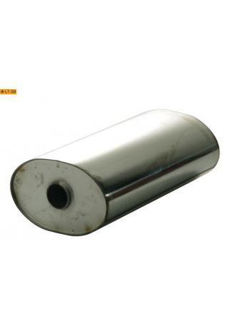 Universalschalldämpfer Oval einflutig ohne Stutzen Eingang Ø 50mm Schallkörper B236 x H150 x L420mm Edelstahl