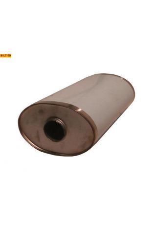 Universalschalldämpfer Oval einflutig ohne Stutzen Eingang Ø 63.5mm Schallkörper B236 x H150 x L420mm Edelstahl