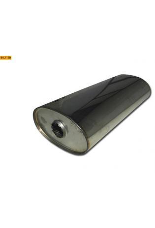 Universalschalldämpfer Oval einflutig ohne Stutzen Eingang Ø 45mm Schallkörper B204 x H117 x L420mm Edelstahl
