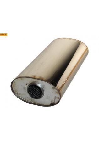 Universalschalldämpfer Oval einflutig ohne Stutzen Eingang Ø 63.5mm Schallkörper B204 x H117 x L420mm Edelstahl