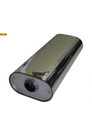 Universalschalldämpfer Oval einflutig ohne Stutzen Eingang Ø 45mm Schallkörper B173 x H98 x L420mm Edelstahl