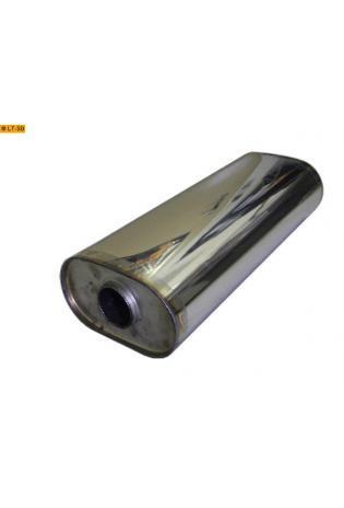 Universalschalldämpfer Oval einflutig ohne Stutzen Eingang Ø 50mm Schallkörper B173 x H98 x L420mm Edelstahl
