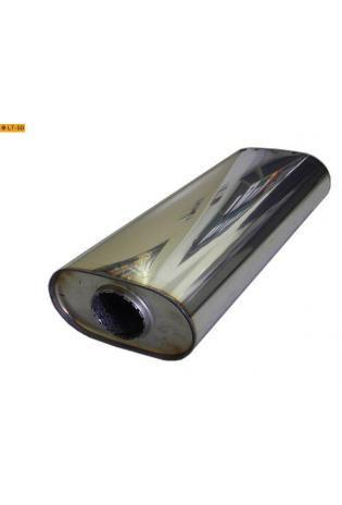 Universalschalldämpfer Oval einflutig ohne Stutzen Eingang Ø 63.5mm Schallkörper B173 x H98 x L420mm Edelstahl