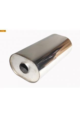 Universalschalldämpfer Oval einflutig ohne Stutzen Eingang Ø 63.5mm Schallkörper B211 x H145 x L420mm Edelstahl