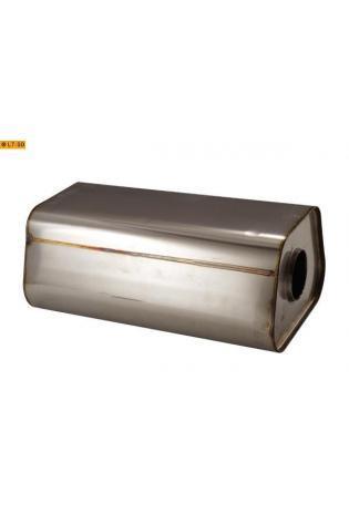 Universalschalldämpfer Trapezförmig einflutig ohne Stutzen Eingang Ø 76mm Schallkörper B245 x H175 x L420mm Edelstahl