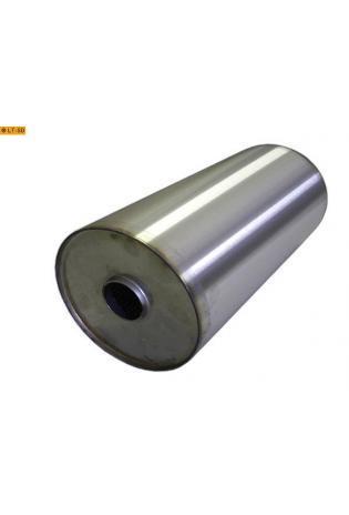 Universalschalldämpfer Rund einflutig ohne Stutzen Eingang Ø 55mm Schallkörper Ø 198mm Länge 420mm Edelstahl
