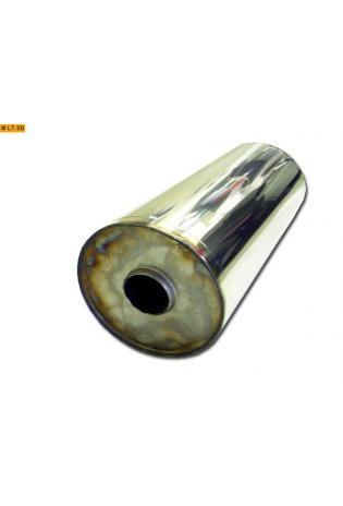 Universalschalldämpfer Rund einflutig ohne Stutzen Eingang Ø 55mm Schallkörper Ø 176mm Länge 420mm Edelstahl