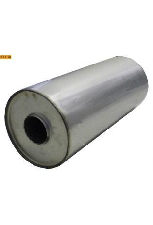Universalschalldämpfer Rund einflutig ohne Stutzen Eingang Ø 63.5mm Schallkörper Ø 176mm Länge 420mm Edelstahl
